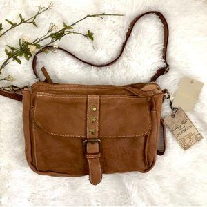 Costanza Rota Tan Vintage Distressed Leather Bag